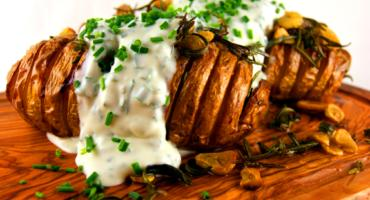 Hasselback Garlic and Rosemary Potatoes